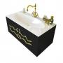 Тумба с раковиной CLARBERG Due Amanti Elegance 100 черная, ручки золото Due.01.10/BLK/GL купить