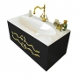 Тумба с раковиной CLARBERG Due Amanti Elegance 120 черная, ручки золото Due.01.12/BLK/GL купить